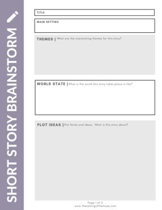 Short Story Brainstorming Worksheet – Free Download – The Taming of